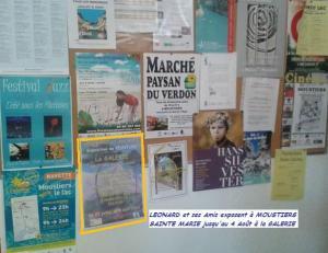 Notre affiche est placardée à l'Office de Tourisme de MOUSTIERS SAINTE MARIE;
