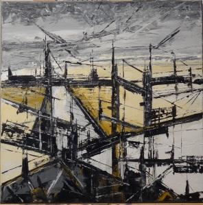 Patrick Lesné, tableau commencé lors de la séance de peinture en commun au Pont de l'Arc